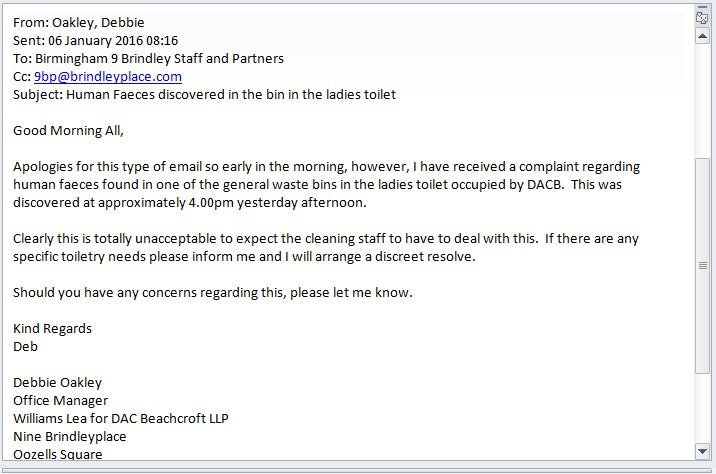 staff at dac beachcrofts birmingham office have clearly had a lovely start to 2016 this email was sent out on wednesday morning